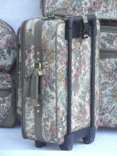 80s Vintage Floral Tapestry Luggage Soft Sided Suitcases