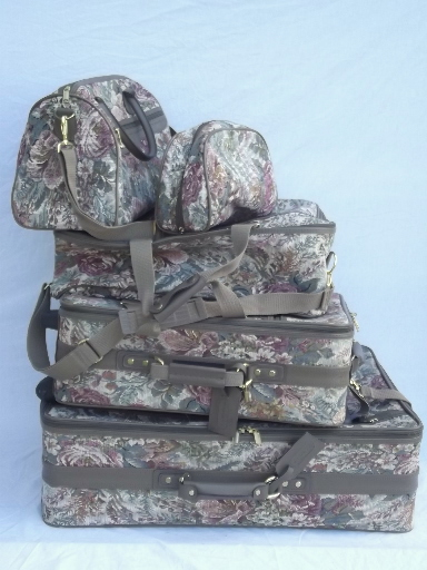 80s vintage floral tapestry luggage, soft sided suitcases, satchel bag