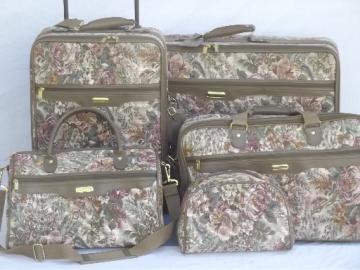 80s vintage floral tapestry luggage, soft sided suitcases, satchel bag