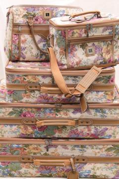 80s vintage floral tapestry suitcases, satchel, train case carry on, Leisure luggage set