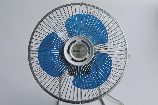Galaxy Floor Fan : S vintage galaxy fan with blue plastic blades retro