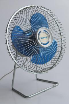 80s vintage Galaxy fan with blue plastic fan blades, retro Galaxy floor fan