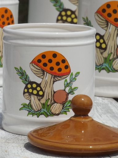 80s Vintage Merry Mushroom Sears Kitchen Canisters Set