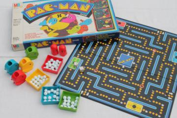 80s vintage Pac-Man board game w/ plastic Pac pieces & marbles