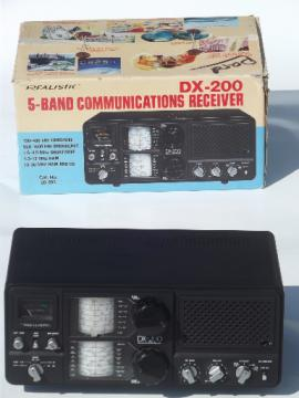 80s vintage radio receiver, Realistic DX 200 five band shortwave radio