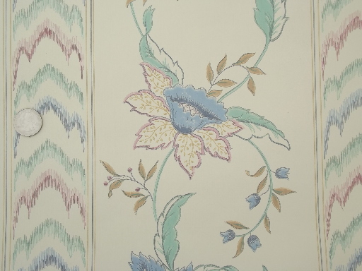 80s vintage wallpaper & wallpaper borders lot, prairie style floral prints