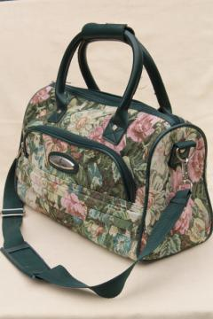 90s vintage Atlantic floral tapestry luggage, carry on suitcase overnight travel bag purse