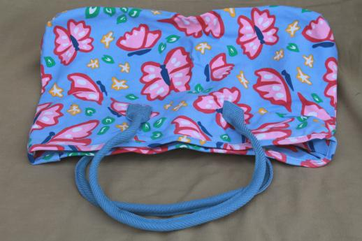 90s vintage Avon butterfly print cotton bag or large purse, duffel, gym bag, shopping tote