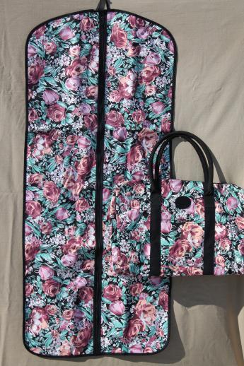 90s Vintage Avon Flowered Print Cotton Travel Bag Set Carry On Duffel Tote Hanging Garment