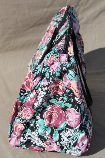 90s vintage Avon flowered print cotton travel bag set, carry on duffel tote & hanging garment bag