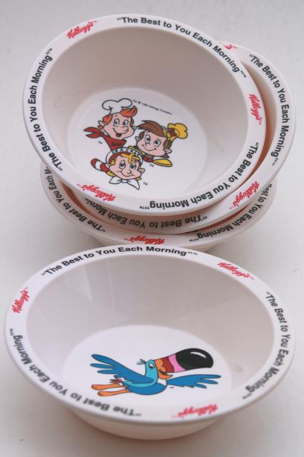 90s vintage Kelloggs cereal bowls set, melmac bowls w/ advertising characters