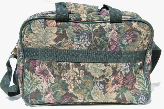 90s vintage Leisure luggage floral tapestry getaway overnight travel suitcase, messager bag purse