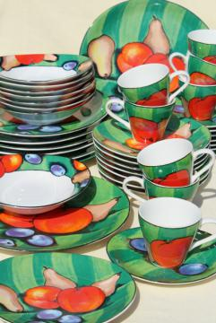 90s vintage Misono Tuscany dinnerware, bold impressionist still life fruit abstract
