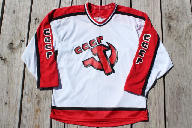 90s vintage Russian hockey teams fan gear, worn jerseys size medium