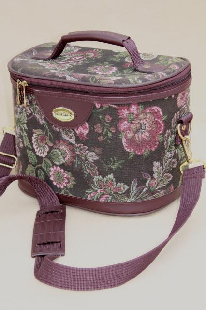 90s vintage floral tapestry luggage purse, hard sided bag or train case Gloria Vanderbilt