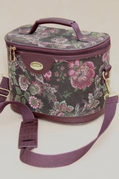 90s vintage floral tapestry luggage purse, hard sided bag or train case Gloria Vanderbilt