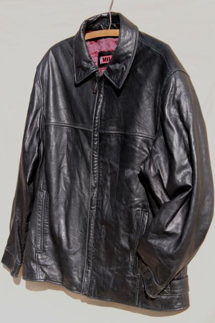 90s vintage men's black leather jacket size medium 48 chest Nicole Miller label