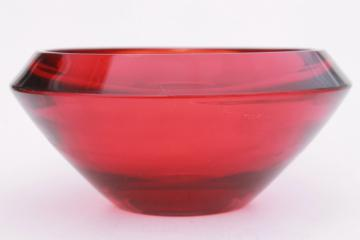 90s vintage ruby red Waterford crystal glass bowl, large heavy centerpiece bowl