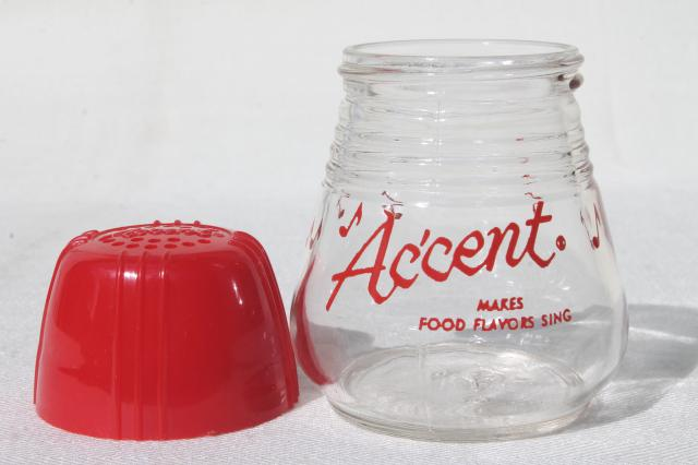 Accent shaker jar, vintage glass spice jar w/ red plastic shaker top lid