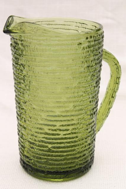 Anchor Hocking Soreno Bark Texture Crinkle Glass Pitcher