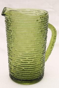 Anchor Hocking Soreno bark texture crinkle glass pitcher, 60s vintage avocado green glassware