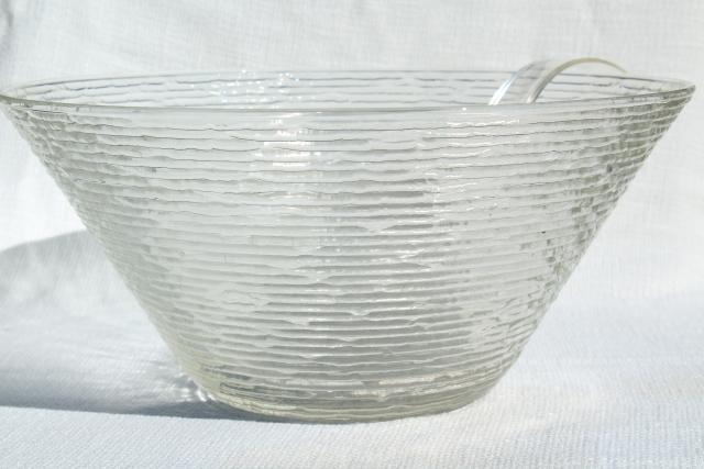 Anchor Hocking Soreno mod vintage ice textured crystal clear glass party punch bowl