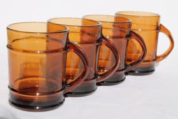 Anchor Hocking oven proof ranger brown glass barrel mugs, root beer color clear glass