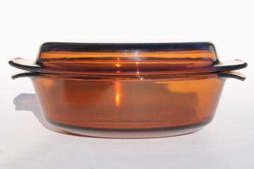 Anchor Hocking visions amber brown glass casserole w/ lid, 1.5 qt or lt #433