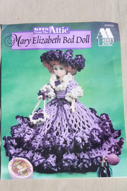 Annie's Attic crochet bed doll kit w/ pattern & yarn, amethyst purple Mary Elizabeth