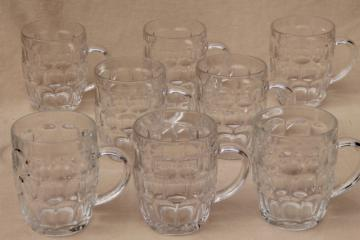 Arcoroc Britannia thumbprint pattern glass mugs, set of 8 big heavy beer steins