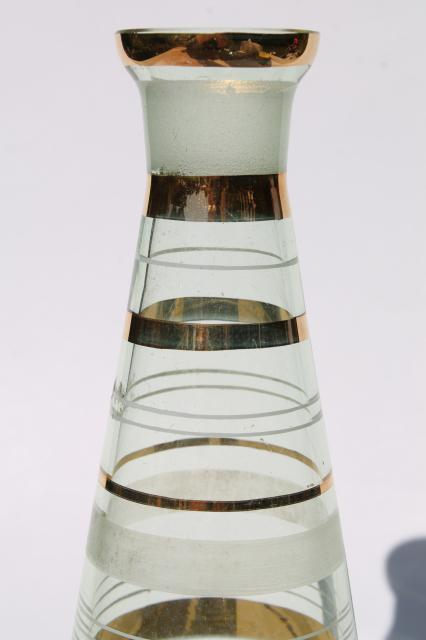Art deco vintage green glass decanter bottle w/ gold band decoration, Czech or Japan?