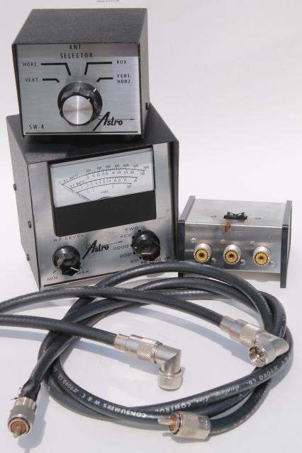 Astro / Avanti SWR power meter, antenna switches & cables, vintage short wave / CB radio equipment parts