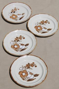 Autumn Fair Hearthside Japan stoneware salad plates, 70s vintage pottery w/ mod flowers