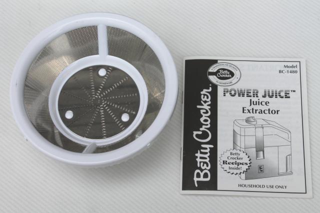 Betty Crocker Power Juicer Juice Extractor Bc 1480 Clean
