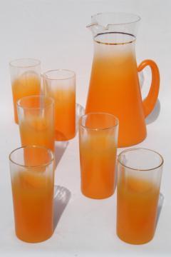 Blendo orange fade frosted glass pitcher & drinking glasses, vintage lemonade or cocktail set