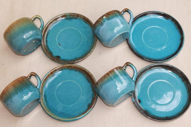 california rustic vintage stoneware pottery dishes ocean blue w copper brown drip glaze & Colored Dinnerware Turquoise Stoneware Dinnerware Turquoise And ...