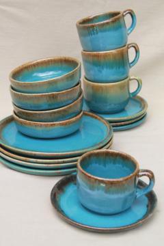 California Rustic vintage stoneware pottery dishes, ocean blue w/ copper brown drip glaze