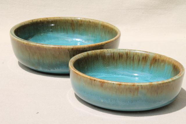 California Rustic vintage stoneware pottery dishes ocean blue w/ copper brown drip glaze & Rustic vintage stoneware pottery dishes ocean blue w/ copper brown ...