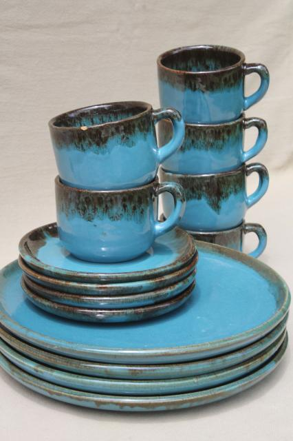 California Rustic vintage stoneware pottery dishes ocean blue w/ copper brown drip glaze & vintage china dishes and dinnerware