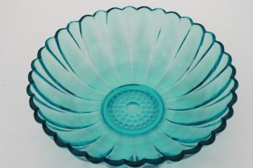 Capri blue vintage Hazel Atlas glass big bowl w/ mod flower daisy shape