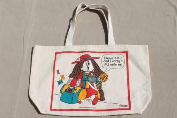 Cathy comic strip character canvas tote bag, Have it all and carry it all with me!