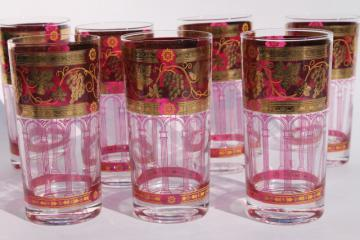 Cera Golden Grapes burgundy highball glasses, vintage cranberry ruby stain tumblers