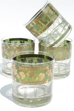 Cera Golden Grapes gold green old fashioned lowball tumblers, vintage drinking glasses