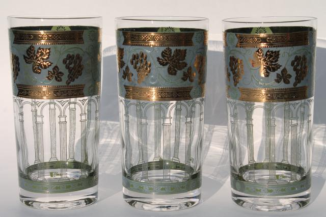 Cera Golden Grapes green highball glasses, vintage green & gold tumblers