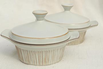 Cleopatra Fris Holland pottery, mod vintage ceramic casseroles, individual covered dishes