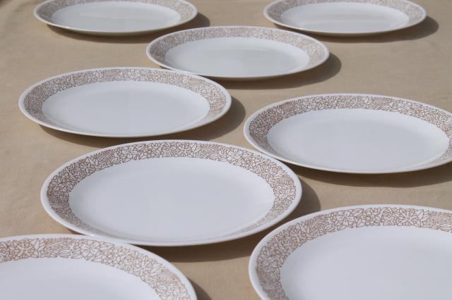 Corelle woodland brown leaves milk white glass Corningware dinner plates & glass dishes and serving pieces