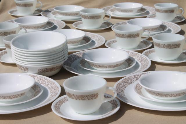 Corelle woodland brown leaves milk white glass Corningware dinnerware set for 8 : leaves dinnerware - pezcame.com
