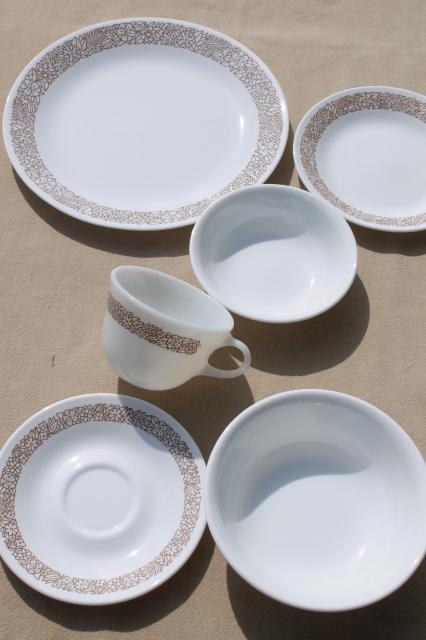 Corelle woodland brown leaves milk white glass Corningware ...