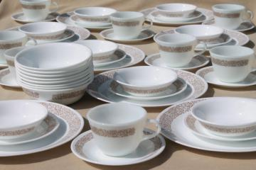 Corelle woodland brown leaves milk white glass Corningware dinnerware set for 8