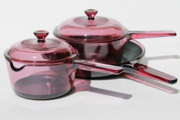 Corning Visions Pyrex cranberry teflon skillet frying pan & two saucepans w/ lids
